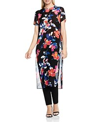 Vince Camuto Floral Rendezvous Sheer Tunic Rich Black