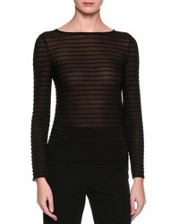 Giorgio Armani Long Sleeve Ribbed Top Black