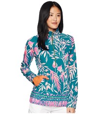 Lilly Pulitzer Upf 50 Skipper Popover Tidal Wave Its Prime Time Engineered Long Sleeve Pullover Blue