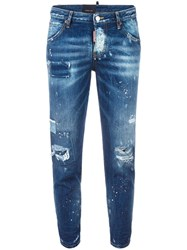 Dsquared2 Hockney Distressed Patchwork Jeans Blue