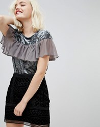 Hazel Crushed Velvet Top With Frill Front Mesh Grey