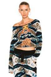 Baja East Cashmere Jacquard Top In Abstract Black Blue Green White Abstract Black Blue Green White