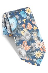 The Tie Bar Duke Floral Linen Navy