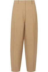 Victoria Beckham Cotton Blend Canvas Tapered Pants Taupe