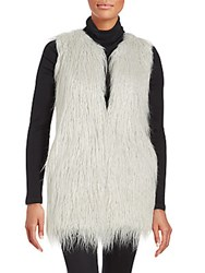 1.State Sleeveless Faux Fur Vest Silver