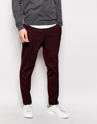 Asos Skinny Fit Smart Cropped Trousers Burgundy