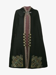Etro Embroidered Hooded Cape Black