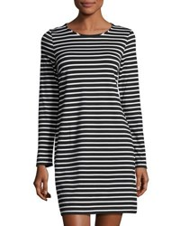 1.State Striped Long Sleeve Shift Dress Black