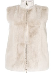 Peserico Panelled Fur Vest Nude And Neutrals