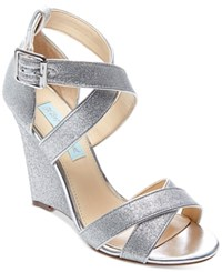 Blue By Betsey Johnson Cherl Wedge Sandals Women's Shoes Silver Glitter