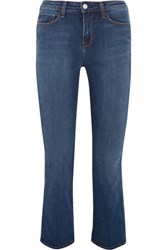 L'agence Serena Cropped Mid Rise Bootcut Jeans Mid Denim
