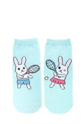 Forever 21 Tennis Bunny Ankle Socks Mint Multi
