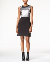 Tommy Hilfiger Faux Leather Collar Houndstooth Sheath Dress Black White