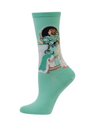 Hot Sox Printed Cotton Blend Socks Mint