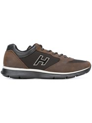 Hogan Panelled Lace Up Sneakers Brown