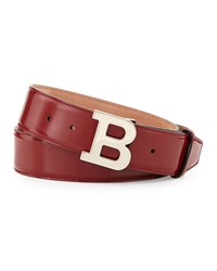 Bally Patent B Buckle Belt Red