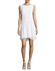 Mika And Gali Sheer Overlay Dress White