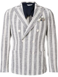 Manuel Ritz Striped Button Blazer White