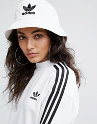 Adidas Originals Logo Bucket Hat In White White