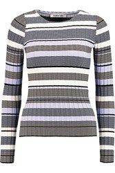 Elizabeth And James Striped Stretch Ribbed Knit Top Purple