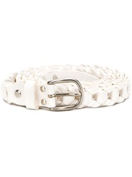 Marios Woven Buckle Belt White