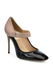 Valentino Plain Two Tone Leather Mary Jane Pumps Black