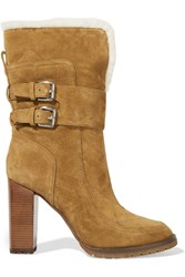 Sigerson Morrison Shearling Lined Suede Boots Brown