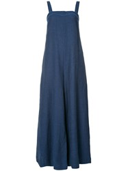Martin Grant Flared Maxi Dress Women Linen Flax 36 Blue