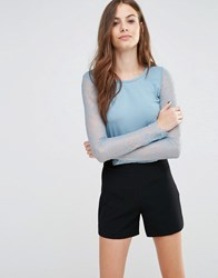 Sisley Lace Sleeve Jersey Top 31H Blue