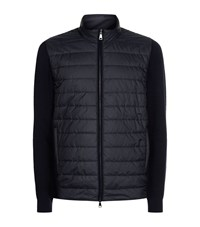 Hackett Quilted Front Zip Up Cardigan Male Black