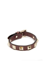 Valentino Rockstud Leather Bracelet Burgundy