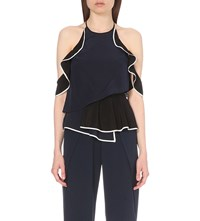 Jonathan Simkhai Draped Silk Halter Top Navy Combo