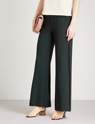 See By Chloe Laddered Trim Wide Leg Crepe Trousers Opaque Brown
