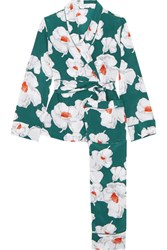 Equipment Odette Floral Print Washed Silk Pajamas Emerald