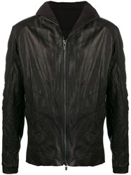 Devoa Creased Leather Jacket Black