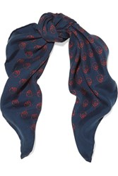 Gucci Printed Washed Silk Twill Scarf Navy