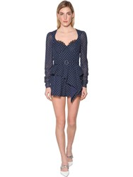 Self Portrait Plumetis Techno Georgette Romper Blue