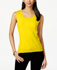 August Silk Sleeveless Silk Blend Scoop Neck Shell Super Lemon