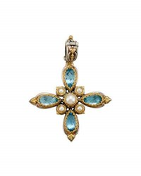 Konstantino Amphitrite Topaz And Pearl Cross Pendant Enhancer Blue