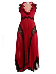 Gucci Deep V Neck Lace Trimmed Jersey Gown Red Multi