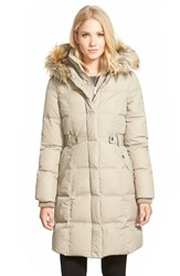 Women's Dkny 'Faith' Faux Fur Trim Long Down And Feather Fill Parka Taupe