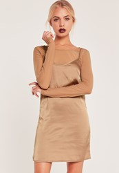 Missguided Long Sleeve Mesh Top 2 In 1 Dress Nude
