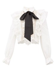 Self Portrait Balloon Sleeve Pussy Bow Lace Blouse White Black
