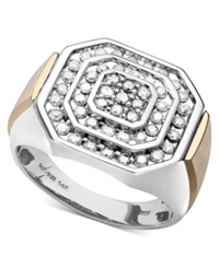 Macy's Men's Diamond Ring In 14K Gold And Sterling Silver 1 Ct. T.W.