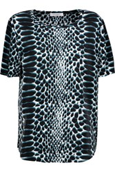 Equipment Riley Printed Washed Silk Top Cobalt Blue