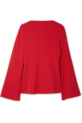 Brandon Maxwell Open Back Crepe Blouse Red
