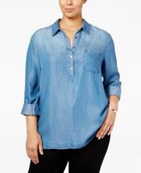 Styleandco. Style Co. Plus Size High Low Denim Shirt Only At Macy's Sun Wash