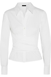Donna Karan Wrap Effect Stretch Cotton Blend Poplin Shirt