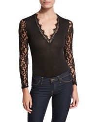 Romeo And Juliet Couture Long Sleeve Sheer Lace Bodysuit Black