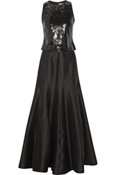 Halston Embellished Cotton And Silk Blend Faille Two Piece Gown Black